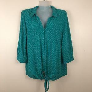 Reitmans polka dot button front knotted blouse XL